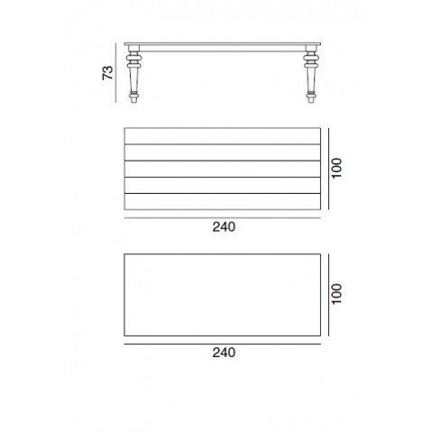 Table GRAY Gervasoni plateau ardoise et pieds noyer 240 33 LG