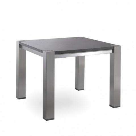 Table haute carrée COMO de Manutti, Noir, 150x150x75