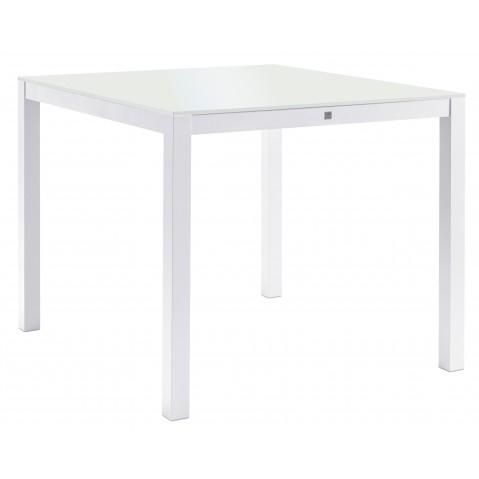 Table KWADRA avec dalle en verre de Sifas, blanc, 100 x 90