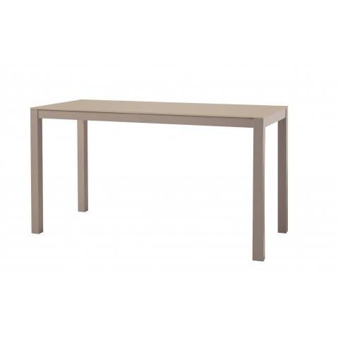 Table KWADRA avec dalle en verre de Sifas, moka, 140 x 60