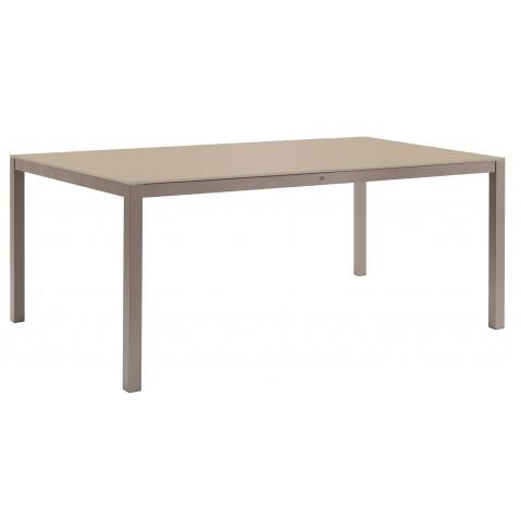 Table KWADRA avec dalle en verre de Sifas, moka, 240 x 100