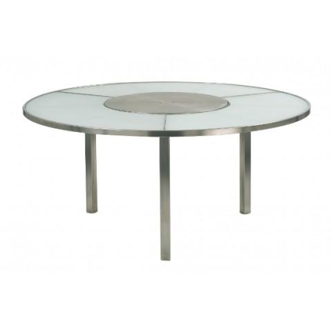 Table O-ZON 160 EP verre et inox de Royal Botania, blanc