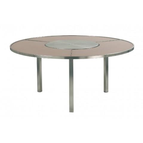 Table O-ZON 160 EP verre et inox de Royal Botania, cappuccino