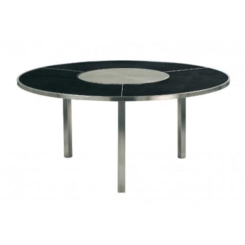 Table O-ZON 160 EP verre et inox de Royal Botania, noir