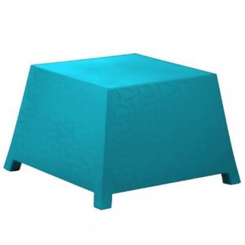 Table/Pouf RAFFY-M10 Qui est Paul Turquoise Coussin Gris