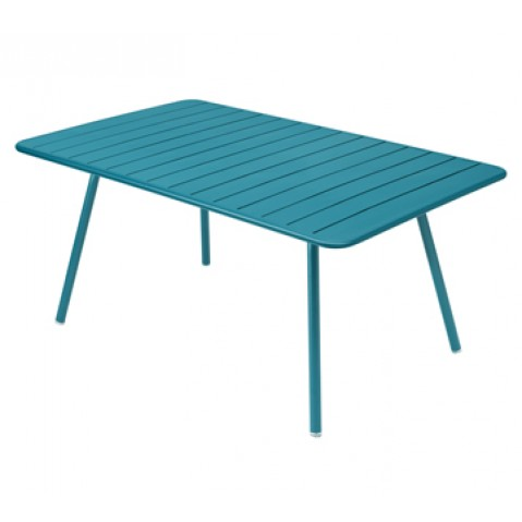 Table rectangulaire confort 6 LUXEMBOURG de Fermob, couleur turquoise
