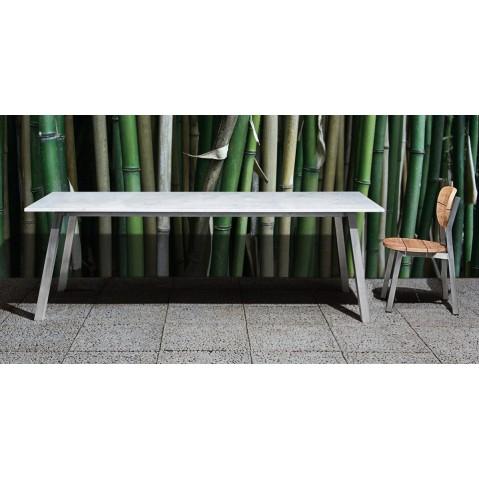 Table rectangulaire INOUT de Gervasoni, L. 180, plateau marbre blanc