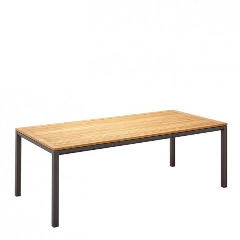 Table rectangulaire L.220 X P.101 X H.73 ROMA de Gloster, plateau de bois, Slate
