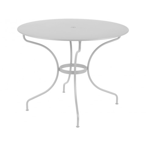 table ronde op ra de fermob gris m tal. Black Bedroom Furniture Sets. Home Design Ideas