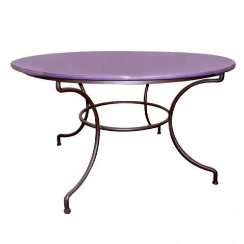 Table ronde en pierre de lave émaillée D.120, 6 coloris