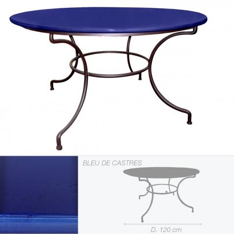 Table ronde en pierre de lave émaillée D.120 bleu de Castre