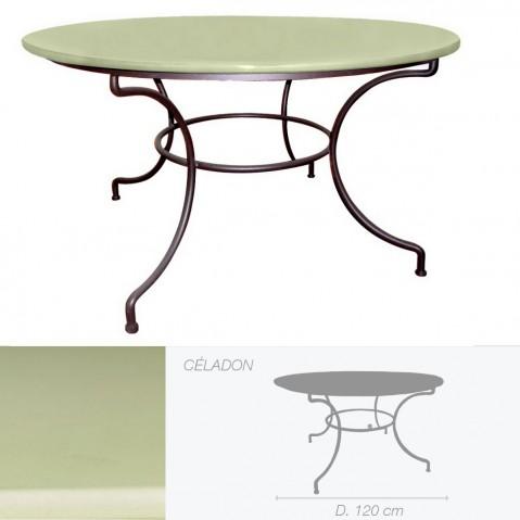 Table ronde en pierre de lave émaillée D.120 céladon