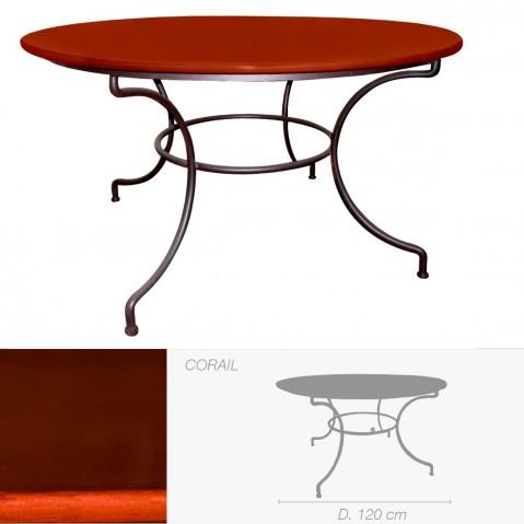 Table ronde en pierre de lave émaillée D.120 corail