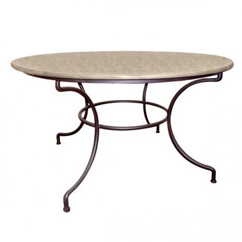 Table ronde en Pierre Marbrière Pied Directoire, 2 coloris