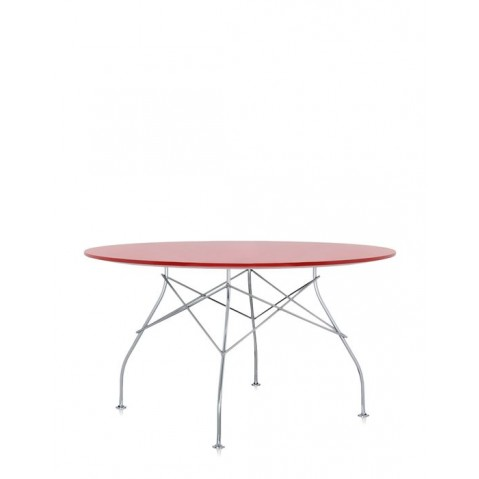 Table ronde GLOSSY de Kartell, Rouge
