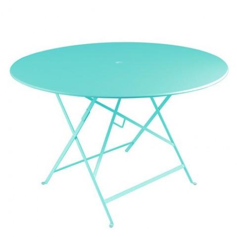 Table ronde pliante BISTRO de Fermob D.117 x H.74 cm Bleu lagune