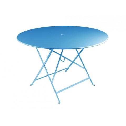 Table ronde pliante BISTRO de Fermob D.117 x H.74 cm Bleu turquoise