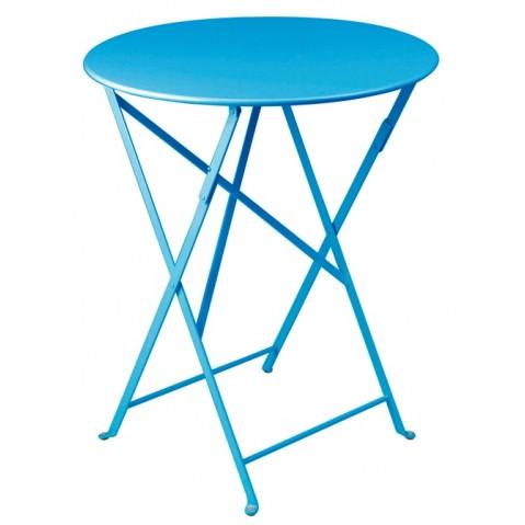 Table ronde pliante BISTRO de Fermob D.60 x H.74 cm Bleu turquoise