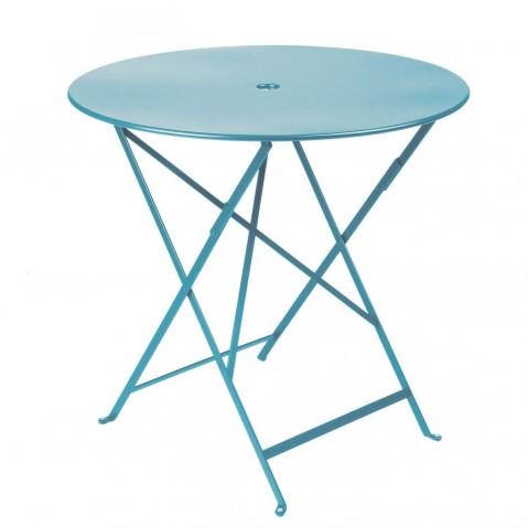 Table ronde pliante BISTRO de Fermob D.77 x H.74 cm Bleu turquoise
