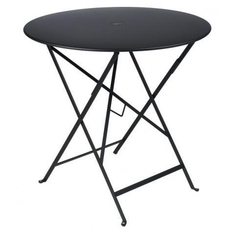 Table ronde pliante BISTRO de Fermob D.77 x H.74 cm Réglisse