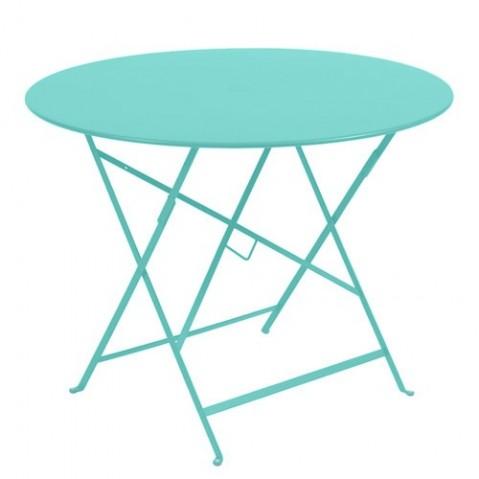 Table ronde pliante BISTRO de Fermob D.96 x H.74 cm Bleu lagune
