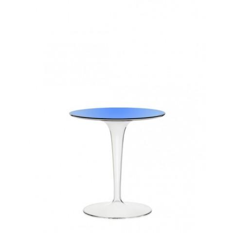 Table ronde TIP TOP de Kartell, Bleu transparent
