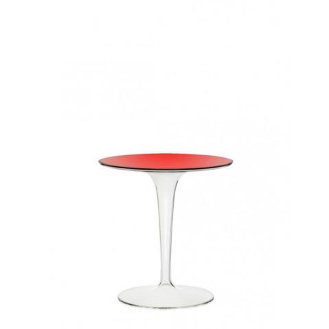 Table ronde TIP TOP de Kartell, Rouge transparent