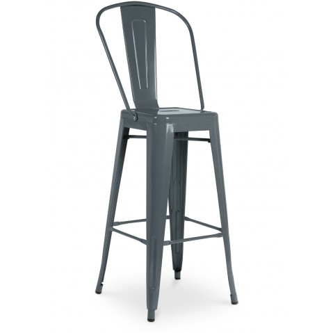tabouret haut avec grand dossier de tolix en acier laqu gris souris. Black Bedroom Furniture Sets. Home Design Ideas