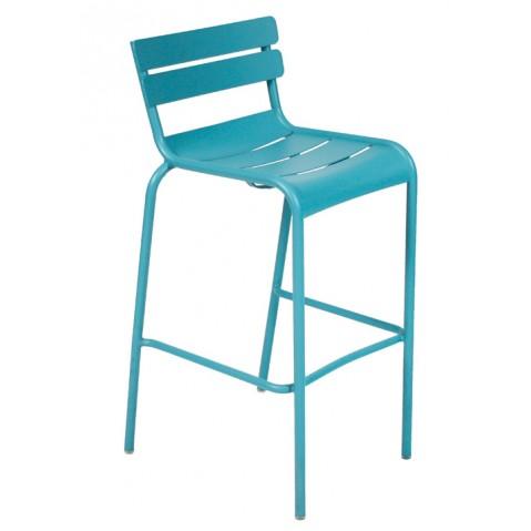 Tabouret haut LUXEMBOURG de Fermob bleu turquoise