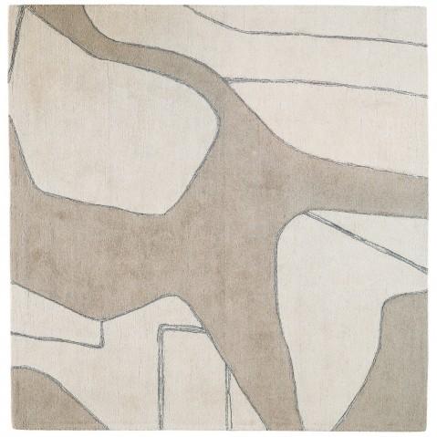 Tapis LINES II - FLUIDE de Toulemonde Bochart, 230x230, Craie