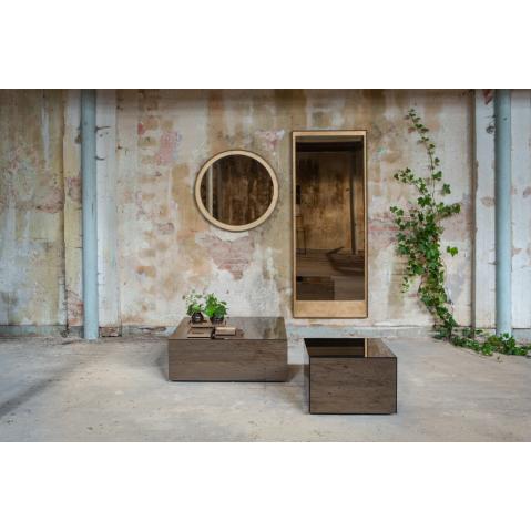 miroir mural rond gold leaf avec cadre en bois de notre monde. Black Bedroom Furniture Sets. Home Design Ideas