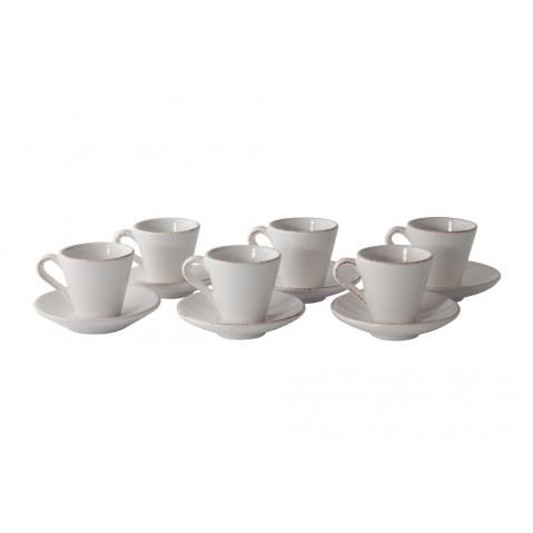 Verre Set De 6 Manosque Tasse à Expresso et Soucoupe de Flamant, Blanc