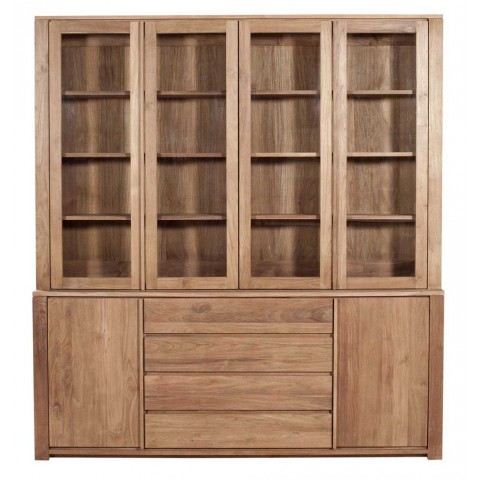 Vitrine TECK LODGE d'Ethnicraft , 4 portes vitrées / 2 portes / 3 tiroirs