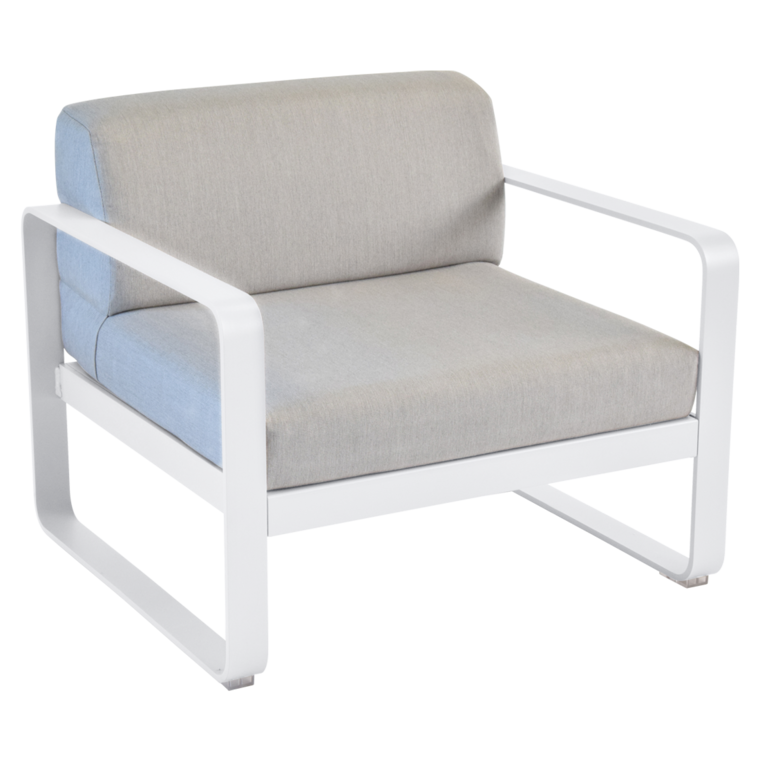 fauteuil bellevie de fermob coussin gris flanelle blanc coton. Black Bedroom Furniture Sets. Home Design Ideas