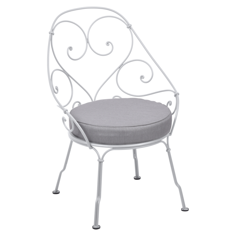 fauteuil cabriolet de fermob coussin gris flanelle blanc coton. Black Bedroom Furniture Sets. Home Design Ideas