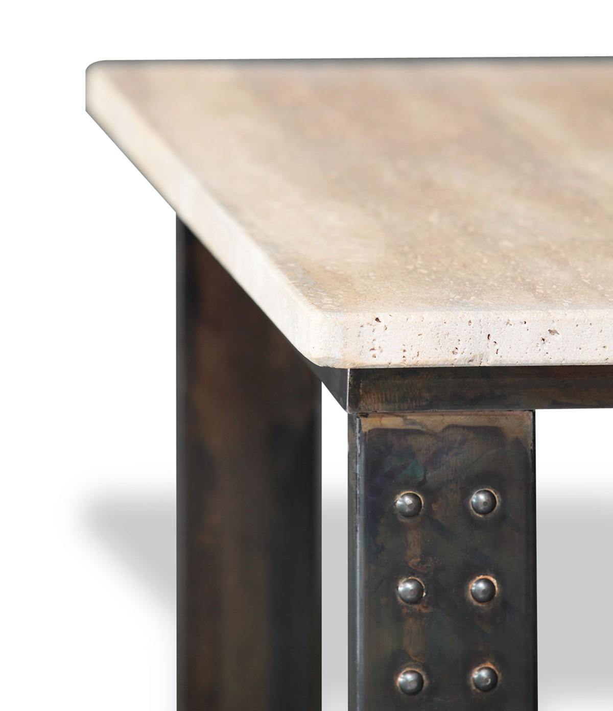 table en pierre de travertin noce clair pied atelier. Black Bedroom Furniture Sets. Home Design Ideas