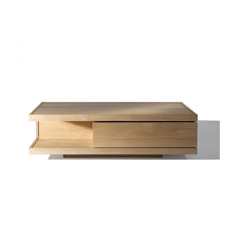 Table basse oak flat d 39 ethnicraft 2 tiroirs largeur 110cm for Table basse ethnicraft