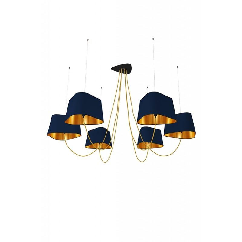 suspension 6 grand nuage de designheure bleu marine or et fil or. Black Bedroom Furniture Sets. Home Design Ideas