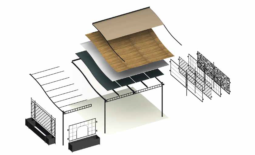 pergola ermitage adoss e de unopiu 39 3 tailles. Black Bedroom Furniture Sets. Home Design Ideas