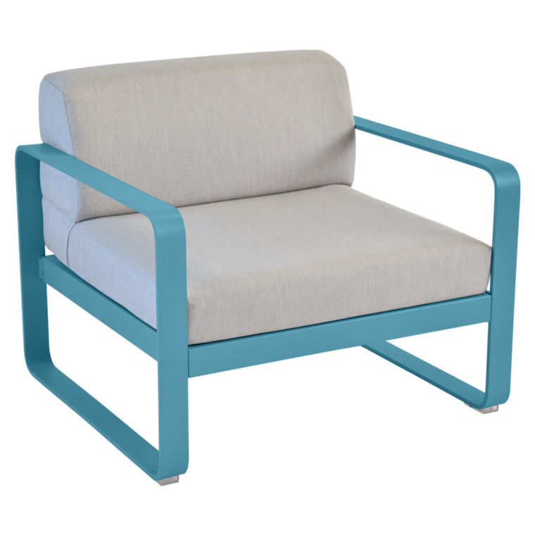 fauteuil bellevie de fermob coussin gris flannelle bleu turquoise. Black Bedroom Furniture Sets. Home Design Ideas