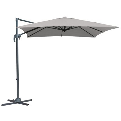 parasol d port alberto en aluminium 250x250 gris clair. Black Bedroom Furniture Sets. Home Design Ideas