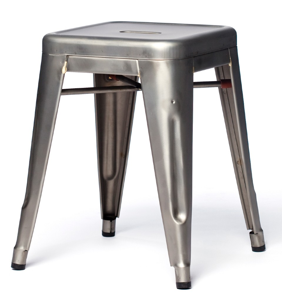 tabouret de tolix acier brut verni brillant. Black Bedroom Furniture Sets. Home Design Ideas