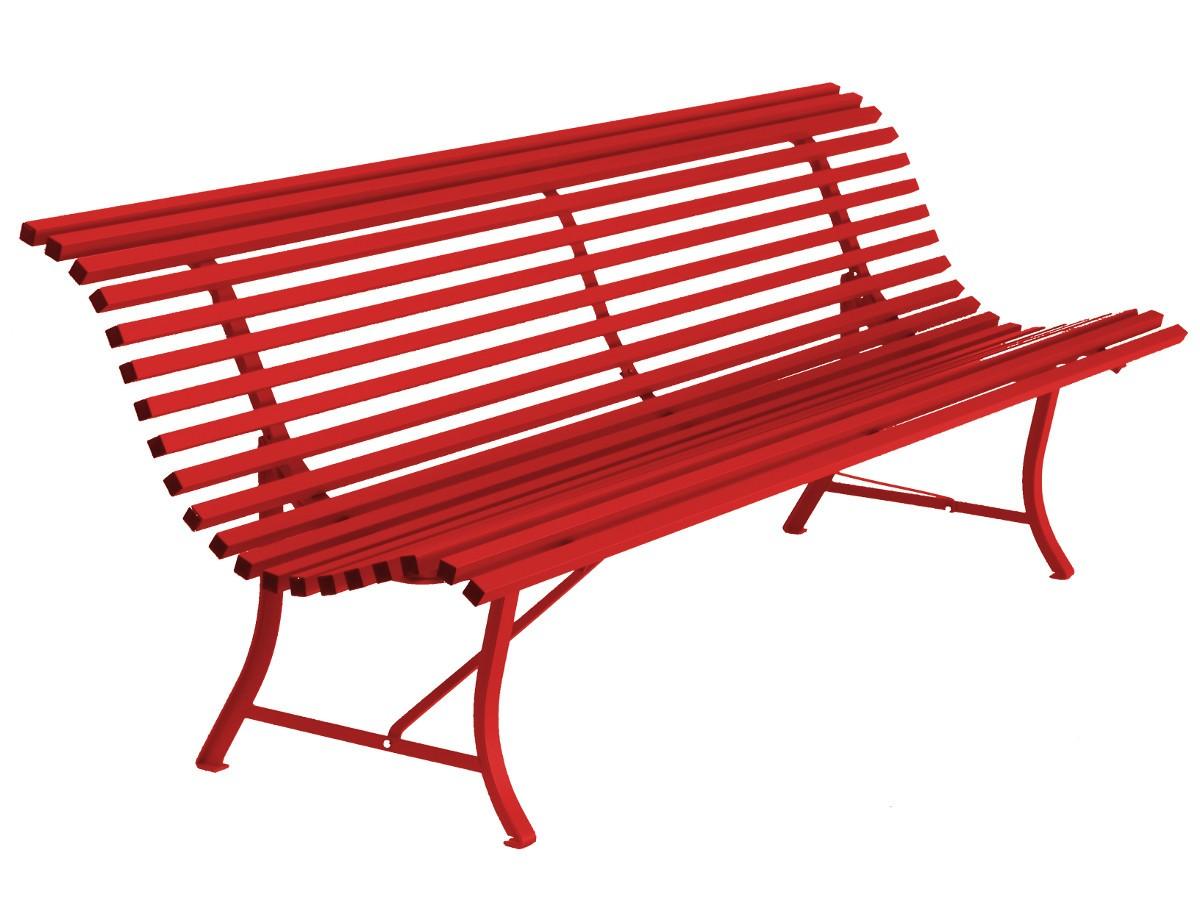 banc louisiane de fermob de longueur 200 cm couleur rouge coquelicot. Black Bedroom Furniture Sets. Home Design Ideas