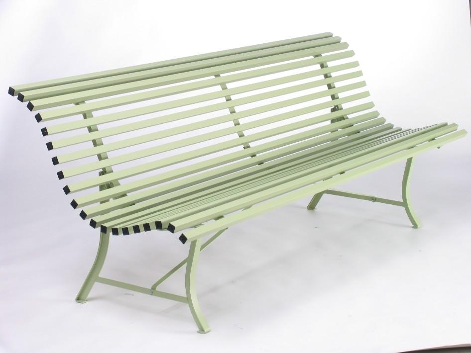 banc de la collection louisiane de fermob de longueur 200 cm couleur vert tilleul. Black Bedroom Furniture Sets. Home Design Ideas