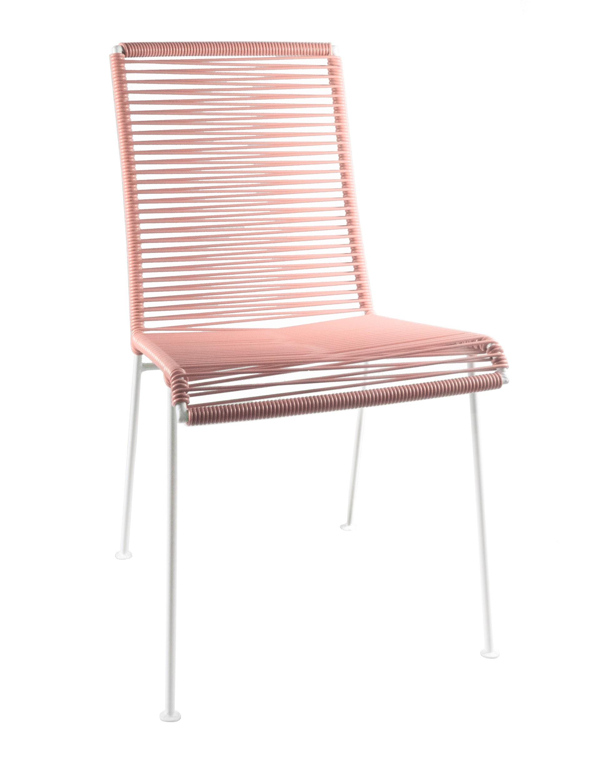 chaise mazunte de boqa avec structure blanche rose poudr. Black Bedroom Furniture Sets. Home Design Ideas