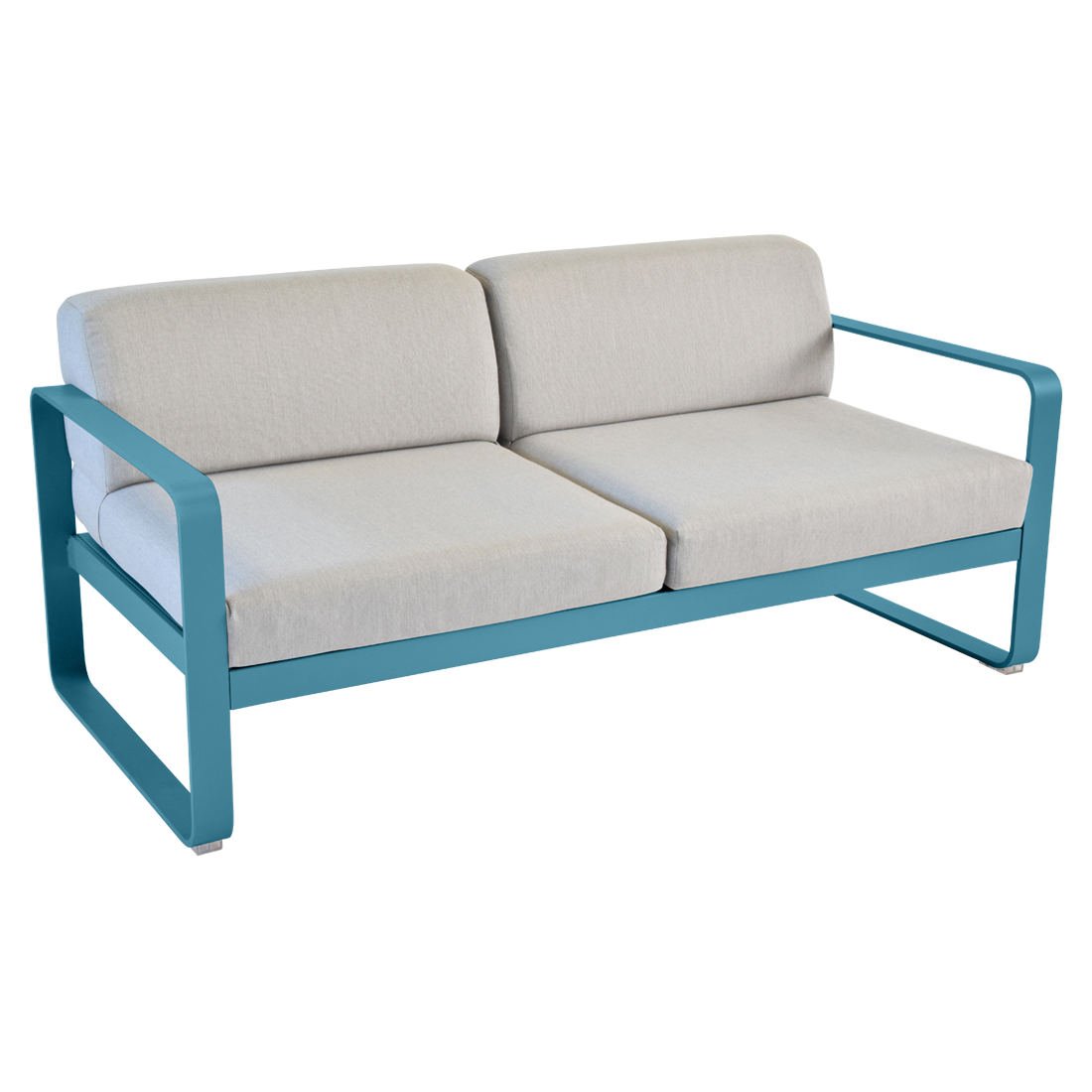 canap bellevie de fermob coussin gris flanelle bleu turquoise. Black Bedroom Furniture Sets. Home Design Ideas