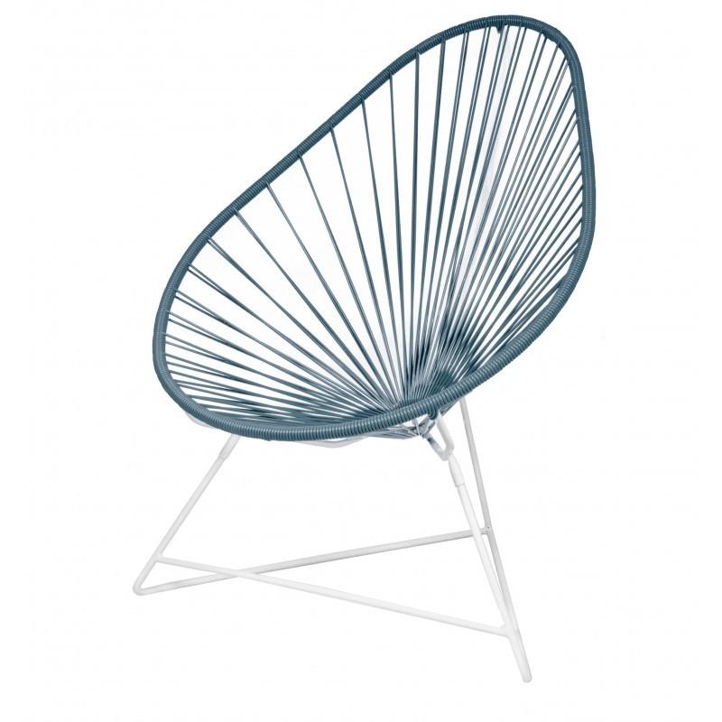 fauteuil acapulco de boqa avec structure blanche bleu canard. Black Bedroom Furniture Sets. Home Design Ideas