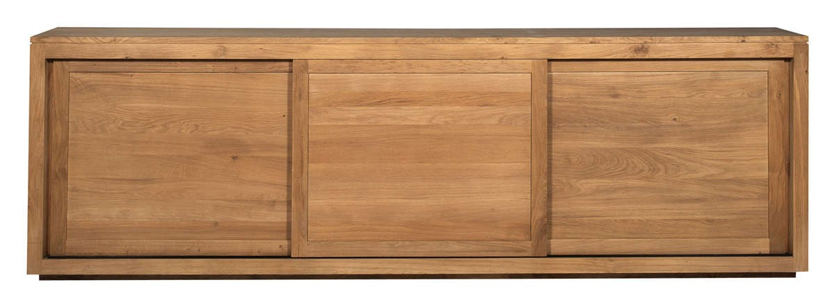 buffet oak pure d 39 ethnicraft 3 portes coulissantes largeur 250cm. Black Bedroom Furniture Sets. Home Design Ideas