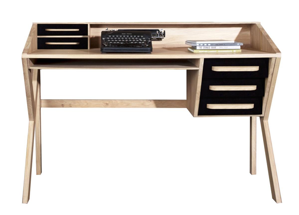 bureau origami d 39 ethnicraft noir. Black Bedroom Furniture Sets. Home Design Ideas