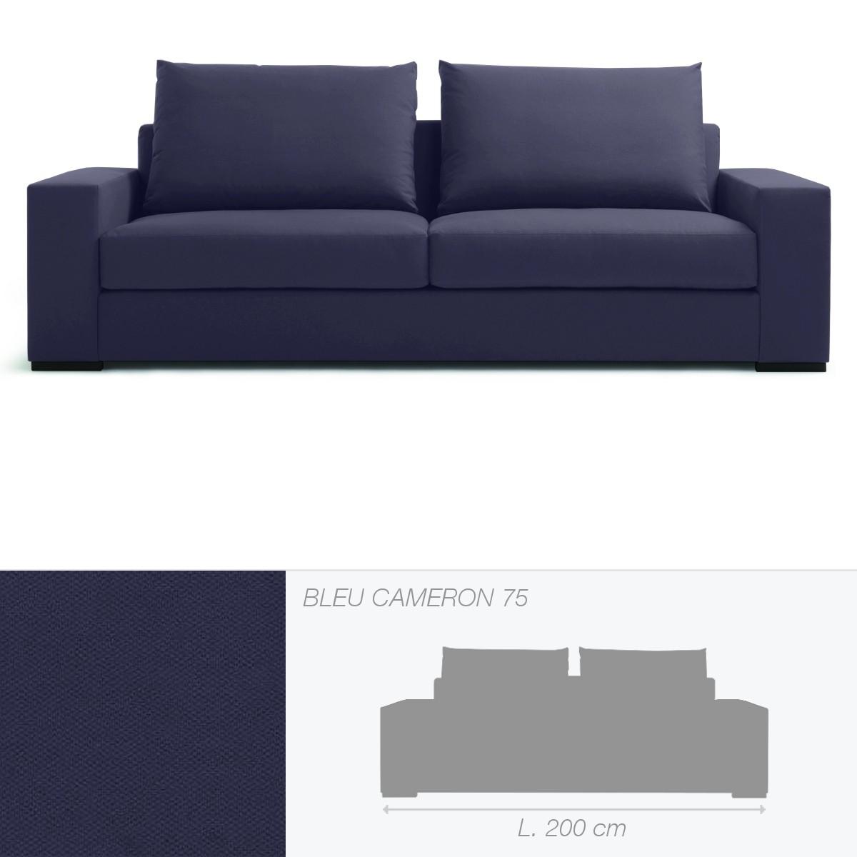 Canap brad 2 5 places de marie 39 s corner bleu cameron 75 for Canape de 75